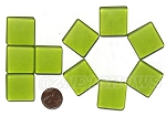 Cultured Sea Glass Cabachons and Art Tiles Square Puffed <b>25mm</b> 22-Olive per <b>10-pc-bag</b>
