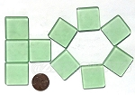 Cultured Sea Glass Cabachons and Art Tiles Square Puffed <b>25mm</b> 23-Peridot per <b>10-pc-bag</b>
