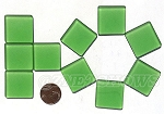 Cultured Sea Glass Cabachons and Art Tiles Square Puffed <b>25mm</b> 25-Shamrock per <b>10-pc-bag</b>