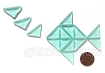 Cultured Sea Glass Cabachons and Art Tiles Triangle Puffed <b>25x12mm</b> 88-Light Aqua `Coke` bottle Seafoam per <b>15-pc-bag</b>