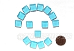 Cultured Sea Glass Cabachons and Art Tiles Square Puffed <b>12mm</b> 28-Turquoise Bay per <b>15-pc-bag</b>