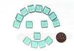 Cultured Sea Glass Cabachons and Art Tiles Square Puffed <b>12mm</b> 88-Light Aqua `Coke` bottle Seafoam per <b>15-pc-bag</b>