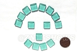 Cultured Sea Glass Cabachons and Art Tiles Square Puffed <b>12mm</b> 89-Autumn Green per <b>15-pc-bag</b>