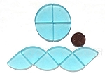 Cultured Sea Glass Cabachons and Art Tiles Quadrant Puffed <b>25mm</b> 28-Turquoise Bay per <b>10-pc-bag</b>