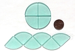 Cultured Sea Glass Cabachons and Art Tiles Quadrant Puffed <b>25mm</b> 88-Light Aqua `Coke` bottle Seafoam per <b>10-pc-bag</b>