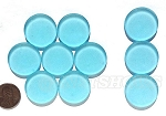 Cultured Sea Glass Cabachons and Art Tiles Coin Puffed <b>25mm</b> 28-Turquoise Bay per <b>10-pc-bag</b>