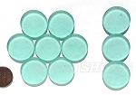 Cultured Sea Glass Cabachons and Art Tiles Coin Puffed <b>25mm</b> 88-Light Aqua `Coke` bottle Seafoam per <b>10-pc-bag</b>