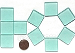 Cultured Sea Glass Cabachons and Art Tiles Square Puffed <b>25mm</b> 88-Light Aqua `Coke` bottle Seafoam per <b>10-pc-bag</b>