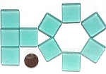 Cultured Sea Glass Cabachons and Art Tiles Square Puffed <b>25mm</b> 89-Autumn Green per <b>10-pc-bag</b>