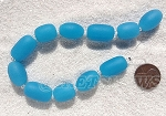Cultured Sea Glass nugget Beads <b>16-20x12mm</b> 46-Opaque Blue Opal per <b>8-in-str</b>