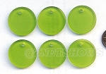 Cultured Sea Glass Flat Coin Pendants <b>25mm</b> 22-Olive per <b>6-pc-bag</b>