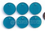 Cultured Sea Glass Flat Coin Pendants <b>25mm</b> 82-Teal per <b>6-pc-bag</b>