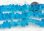 Cultured Sea Glass pebbles Beads <b>9x6mm</b> 28D - DarkerTurquoise Bay about 45 pcs per <b>8-in-str</b>. For this Color:  pricing reflects a 30% off to cover some pieces with chips, scratches or imperfect drilling. So NO RETURNS PLEASE!