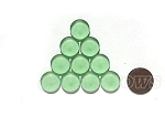 Cultured Sea Glass Cabachons and Art Tiles Coin Puffed <b>15mm</b> 23-Peridot per <b>10-pc-bag</b>