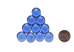 Cultured Sea Glass Cabachons and Art Tiles Coin Puffed <b>15mm</b> 31-Light Sapphire per <b>10-pc-bag</b>
