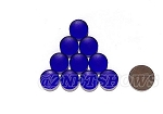 Cultured Sea Glass Cabachons and Art Tiles Coin Puffed <b>15mm</b> 33-Royal Blue per <b>10-pc-bag</b>