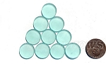 Cultured Sea Glass Cabachons and Art Tiles Coin Puffed Beads <b>15mm</b> 88-Light Aqua `Coke` bottle Seafoam per <b>10-pc-bag</b>