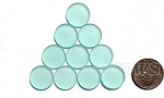 Cultured Sea Glass Cabachons and Art Tiles Coin Puffed Beads <b>15mm</b> 89-Autumn Green per <b>10-pc-bag</b>