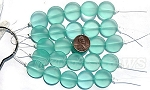 Cultured Sea Glass coin puffed Beads <b>20mm</b> 89-Autumn Green per <b>5-str-hank</b>