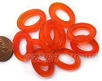 Cultured Sea Glass oval ring Beads <b>About 22x16mm</b>  83 - Tangerine per <b> 10-pc-bag</b>