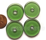Cultured Sea Glass donut Pendants <b> 25mm</b> 25 - Shamrock  per <b> 10-pc-bag</b>