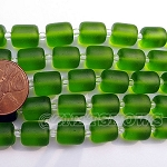 Cultured Sea Glass barrel nugget  Beads <b>About 10x8mm</b> 22-Olive (17-pc-str) per <b>5-str-hank</b>