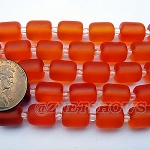 Cultured Sea Glass barrel nugget  Beads <b>About 10x8mm</b> 57-Saffron Yellow (17-pc-str) per <b>5-str-hank</b>
