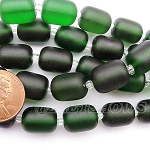 Cultured Sea Glass barrel nugget  Beads <b>About 13x10mm</b> 25-Shamrock (13-pc-str) per <b>5-str-hank</b>