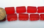 Cultured Sea Glass rectangle puffed Beads <b>14x10mm</b> 05-Cherry Red per <b>12-pc-str</b>