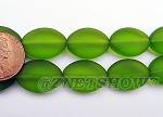 Cultured Sea Glass oval Beads <b>18x13mm</b> 22-Olive per <b>11-pc-str</b>