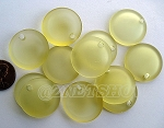 Cultured Sea Glass concaved coin Pendants <b>25mm</b> 84-Lemon Bottle bottom style per <b>12-pc-bag</b>