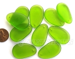 Cultured Sea Glass hypnotic freeform Pendants <b>33x20mm</b> 22-Olive  per <b>10-pc-bag</b>