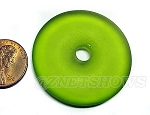 Cultured Sea Glass donut Pendants <b>40mm</b> 22-Olive per <b>1-pc-bag</b>