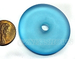 Cultured Sea Glass donut Pendants <b>40mm</b> 28-Turquoise Bay per <b>1-pc-bag</b>