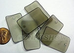 Cultured Sea Glass bottle-curved wide rectangle Pendants <b>33x19mm</b> 15-Smoky Quartz per <b>6-pc-bag</b>
