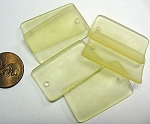 Cultured Sea Glass bottle-curved wide rectangle Pendants <b>33x19mm</b> 84-Lemon per <b>6-pc-bag</b>