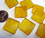 Cultured Sea Glass bottle-curved diamond square Pendants <b>18x18mm</b> 57-Saffron Yellow (New and Smaller Size) per <b>8-pc-bag</b>