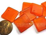 Cultured Sea Glass bottle-curved diamond square Pendants <b>18x18mm</b> 83-Tangerine (New and Smaller Size) per <b>8-pc-bag</b>
