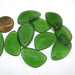 Cultured Sea Glass eclipse Pendants teardrop nugget matching earring left side <b>about 25x17mm</b> 25-Shamrock per <b>10-pc-bag</b>