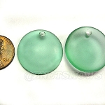 Cultured Sea Glass concaved coin Pendants Bottle bottom style <b>25mm</b> 89-Autumn Green per <b>12-pc-bag</b>