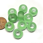 Cultured Sea Glass rondelle Beads <b>14x10mm</b> 23-Peridot per <b>10-pc-bag</b>