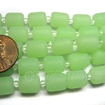 Cultured Sea Glass barrel nugget Beads <b>10x8mm</b> 43-Opaque Seafoam Green per <b>5-str-hank</b>