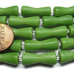 Cultured Sea Glass hour glass Beads <b>22x9mm</b> 158-Opaque spring green color per <b>5-str-hank</b>
