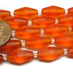 Cultured Sea Glass barrel Beads <b>17x8mm</b> 83-Tangerine per <b>5-str-hank</b>