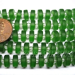 Cultured Sea Glass button heishi Beads <b>9mm</b> 25-Shamrock per <b>5-str-hank</b>