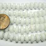 Cultured Sea Glass button heishi Beads <b>9mm</b> 42-Opaque White per <b>5-str-hank</b>