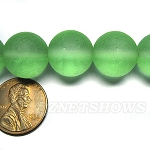 Cultured Sea Glass round Beads <b>14mm</b> 23-Peridot per <b>8-in-str</b>