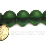 Cultured Sea Glass round Beads <b>14mm</b> 25-Shamrock per <b>8-in-str</b>