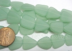Cultured Sea Glass freeform flat Beads <b>13-16mm</b> 892-Opaque Seafoam Green per <b>5-str-hank(6-pc-str)