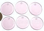 Cultured Sea Glass Flat Coin Pendants <b>25mm</b> 06-Blossom Pink per <b>6-pc-bag</b>